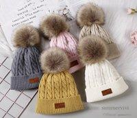 Christmas Baby Kids twist knitted hat girls faux fur pompon beanie boys letter labeling caps autumn winter children warm accessoires Q2760