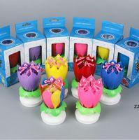 Fiesta de cumpleaños creativa loto música vela flor doble rotación lotu flores velas cumpleaños pastel HWB10039