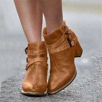 패션 womens 부츠 가을 겨울 플러스 사이즈 뾰족한 발가락 가죽 조정 가능한 버클 chunky 발 뒤꿈치 발목 부츠 여성을위한 Schoenen Q3xz #