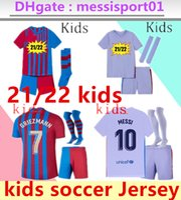 Barcelona Futbol Forması Çocuk Kiti Barca 21 22 Messi Kun Aguero Griezmann Camiseta Futbol Ansu Fati 2021 2022 FDE Jong Uzun Kollu Maillots De Futbol Setleri Formalar