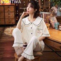 Nightwa Bayan Pamuk Pijama Set Turn-down Yaka Kısa Kollu Pijama Kadın Yaz Karikatür Ayılar Ev Tekstili Sevimli Pijama 210831