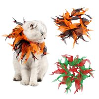 Cat Costumes Pet Dogs Collar Decorative Pumpkin Halloween Festival Costume For Small Dog Christmas Ribbon Colorful Tassel