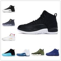[AVEC BOITE] Air Jordan 12 Gold AJ12  shoesNouveau 12 pierre bleu bleu de l'or noir Concord grippe inverse jeu ovo blanc hommes chaussures de basketball 12s playoff français
