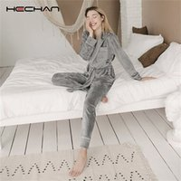 HECHAN Gray Velvet Pajamas Warm Long Sleeve Home Suit For Women Two Piece Set Thick Sleepwear Set Night Suit Sets Autumn Female 201104