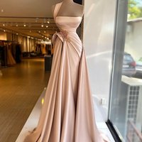 One Shoulder Satin A Line Evening Dresses Side Split Ruched Beading Prom Gowns Sequins Sexy Party Dress