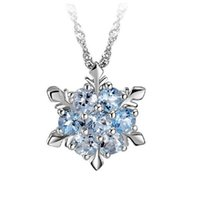 Pendant Necklaces 2021 Charm Vintage Lady Blue Crystal Snowflake Zircon Flower & Pendants Jewelry Gift For Women Girls Wholesale