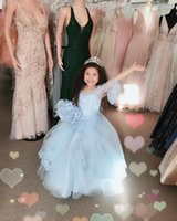 Romantic Baby Blue Juliet Long Sleeves Flower Girls Dresses For Wedding Party Ball Gown V neck Tulle Applique Lace Bead First Communion Dress Toddler Infant Cupcake