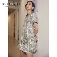CheerArt Silver Puff Sleeve Glitter Sommerkleid 2021 Kurzarm Minikleid Frauen Sparkly Pailletten Rühe 2021 Mode