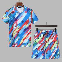 2021 Tasarımcı Jogger Takım Elbise Erkekler Sportsuit Eşofmanlar Yaz Kısa Kollu Spor Erkek Koşu Takımları Koşu T Gömlek Pantolon M-3XL