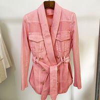 XXL 705 2021 Abrigo del mismo estilo de la marca de otoño Botón de tenim Botón de solapa Púrpura Pink Fashion Womens Ropa Pure Color Oulaidi