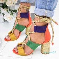 Loozykit Fashion Summer Espadrilles Women Sandals Heel Pointed Fish Mouth Gladiator Sandal Hemp Rope Lace Up Platform Shoe Y1907