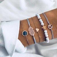 Charm Bracelets 5Pcs  Set Bohemian Bead Pineapple Heart Map Stone Gem Bangles Women Chain Adjustable Jewelry Gift