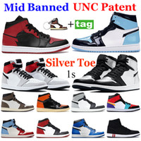 New Silver toe 1 Basketball shoes 1s High Dark Mocha Black Metallic Gold UNC Light Smoke Grey Chicago royal toe sport sneakers 36-46