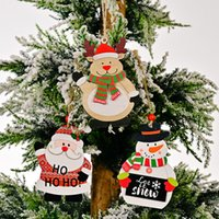 Christmas Tree Decorations Wooden Santa Snowman Reindeer Hanging Ornaments Gift Tags Holiday Party Favors KDJK2110