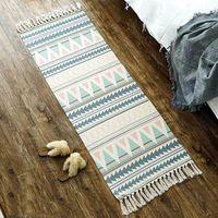 Almofada / Almofada decorativa Vintage mão tecida tapete para sala de estar longo algodão e linho borla piso tapete boho anit liber área tapete m