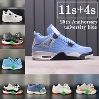 2021 4 4s Üniversitesi Mavi 11 11 S Basketbol Ayakkabıları 25. Yıldönümü Düşük Beyaz Bred Metalik Mor Siyah Kedi Erkek Sneakers Erkek Kadın Eğitmenler