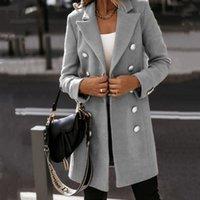 2020 가을 겨울 긴팔 턴 다운 칼라 더블 브레스트 모직 코트 여성 패션 솔리드 컬러 블랙 화이트 여성 천