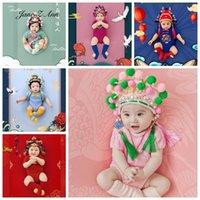 قبعات القبعات الطفل بو استوديو الصينية الأوبرا حلي الرضع 100 يوم 3-6 أشهر ستويدو اطلاق النار itfits قبعة + ارتداءها + الجوارب