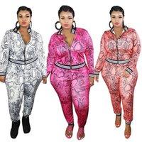 Trajes rosados para mujeres más Tamaño 3xl 4xl 5xl Leopardo de gran tamaño Dos piezas Top y pantalones Set Mujeres 2021 Otoño Invierno Caída Ropa