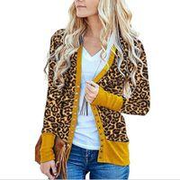 Bayan Ceket Moda Rahat Tarzı Leopar Baskı Uzun Kollu Hırka V Yaka Düğmesi Aşağı Örme Kazak Ceket