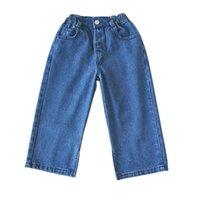 Kot WLG Çocuklar Güz Giysileri Erkek Kız Denim Mavi Katı Gevşek Bebek Moda Tüm Maç 2-7 Yıl için Pantolon