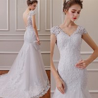 2021 new wedding dress shoulder wrap slim fit fishtail lace tailed bridal gown Large Custom style DHW064
