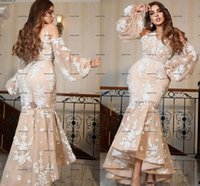 Arabic Aso Ebi Mermaid prom dresses 2022 full lace floral long sleeve light champagne high low skirt evening dress robes