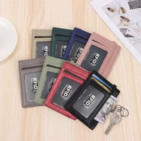 Card Holders RFID Holder Black Color Fashion Design PU Leather Wallet With Keychain For Women Men