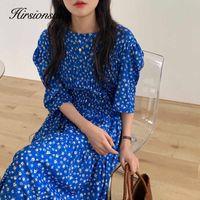 Hirsionsan Floral Dresses Women Summer Harajuku Holiday Dress Vintage Elegant Ladies Long Dress Korean Loose Dress 210603