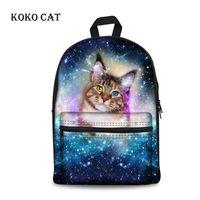 Sac à dos Koko Cat Mignon 3D Galaxy Animal Chien d'imprimerie Adolescents garçons Sacs scolaires Toile Tissu Bookbag Mochila Hombre