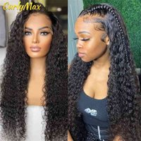 Luvin 30 40 inch Brazilian Deep Wave Human 44 Closure Wig 13x4 13x6 Water Curly Lace Frontal Hair Wigs For Women