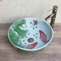 Kunst chinesische Hand geschnitzt Lotus Porzellan benutzerdefinierte Badezimmerwaschbecken für Hotel / Barhigh Quatity