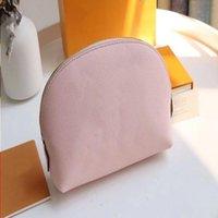 الجلود حقيبة ماكياج صغيرة الشهيرة التجميل نمط مستحضرات التجميل M80502 Pochette الحقيبة المحافظ السفر السيدات حقائب اليد النساء تنظيم TOI BGFO