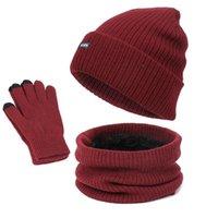 Шляпы, шарфы перчатки наборы 2021 мужская вязаная шляпа набор осенью зимой густой теплый шерстяной шарф из трех частей для женщин
