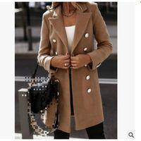 Women's Wool & Blends Women Long CoatTurn-down Collar Button Woolen Coat Autumn Winter Sleeve Pocket Jacket Office Lady Plus Size Tops