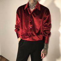 Kadife Kırmızı Lüks Giysileri Erkek Bordo Velor Gömlek Mens Retro Zarif Peluş Bluz Siyah Erkek Gömlek Sıradışı Parti Kulübü 210305
