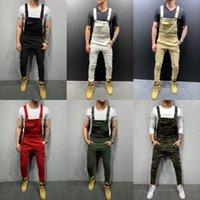 Cool Projektant Marka Jeans Man Spodnie Dla Mężczyzn Kieszonkowy Denim Ogólny Kombinezon Streetwear Sexy Suspender Pant E21