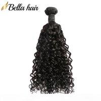 "Bellahair Mongolian Virgem Pacotes de Cabelo Curly 100% Cabelo Humano WeFts 10 ""-28"" Natural Color Hair Extensions Bulk Atacado"