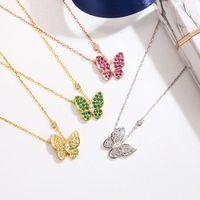 Clover Butterfly Collier Femme 925 Sterling Sier Sier Pendentif Diamant Mode Collier Chaîne Clavicule frais