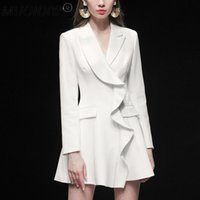 Casual Dresses Runway Dress Suit Women Luxury High Quality Long Sleeve Blazer Elegant Ruffle Designer Slim Mini 2021 Spring Autumn Winter