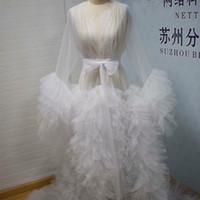 Imagem Real Ruffles Nightgowns Sexy Mulheres Grávidas Foto Dress Lingerie Tiered Sleepwear Nightdress Bridal Boudoir Robe