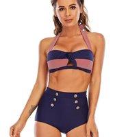 Damenbikinie dreieck hohe taille bikini button badeanzug große größe ohne stahl ring schwimmen frauen sportanzug markdown sale förderung