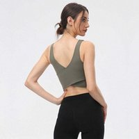 Yoga Vest Women Padded Align Tank Tops Sports Underwear Gym Clothes with Bra Sexy Cross Back Casual Workout T-shirt for Leggings M3Fn#