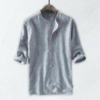 Blouse di lino di cotone Uomini Casa Pure Pure Color Button Summer Top Maschio Colore solido Mezza manica Retro Camicie confortevoli Tunica Vendita calda