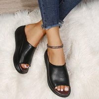 Dress Shoes Ladies PU Leather Sole Slippers Women Sexy High Heel Mules Clogs Black Peep Toe Platform Emal Slip On Sandals