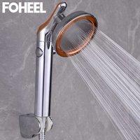 Fooel chuveiro cabeça de alta pressão água economizando um botão para parar a mão rotativa 210724