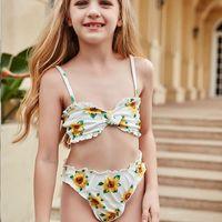 One-Piece Suits 2021 Big Kids Sunflower Bikini Set Ruffle Thong Swimsuit Children Biquini Infantil Bathing Suit Girl Baby Two Piece Swimwear