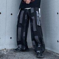 10101 Контрастные Цветовые джинсы Мужчины Европы и Америки Популярные мульти-карманы нагруднули общий хип-хоп улица мода свободные штаны