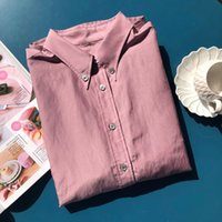 2021 Summer Fall Long Sleeve Lapel Neck Purple Pure Color Silk Cotton Blend Buttons Single-Breasted Blouse Women Fashion Shirt Q281426
