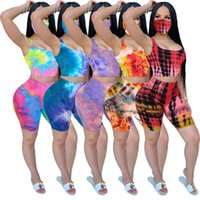 Women Tracksuits Two Pieces Set Tie Dye Casual With Face Mask Ladies Clothes Short Sleeve T-shirt Suits Plus Size Outfits